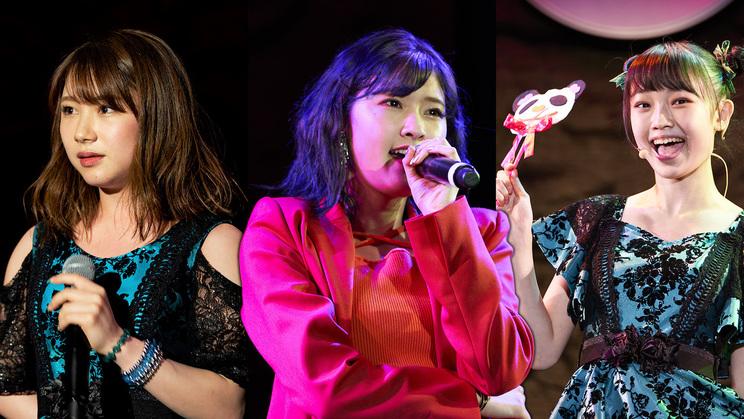 左:石田亜佑美(モーニング娘。'21)、中央:川村文乃(アンジュルム)、右:山﨑愛生(モーニング娘。'21)※昨年のソロフェス!の模様(上位3名)