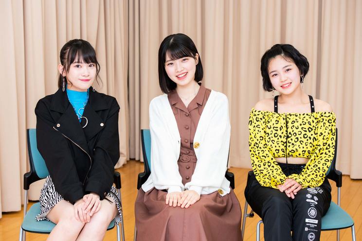 オーディション合格者(左から:里吉うたの、小林萌花、平井美葉)