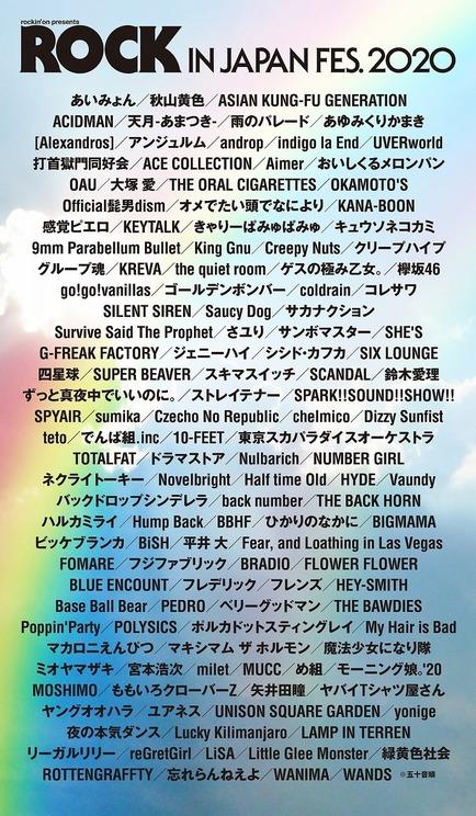 <ROCK IN JAPAN FESTIVAL 2020>出演予定だったアーティスト