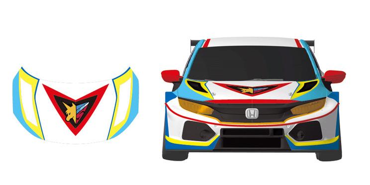 『重田智』デザイン、車両デザイン(正面)(©RFC RACING TEAM ©サンライズ © PP Enterprise Co.,Ltd.)