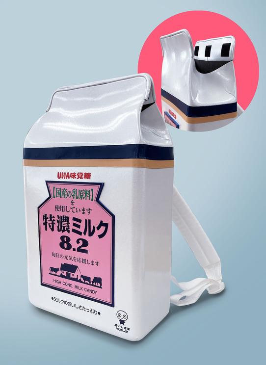 『特濃ミリュック』ポイント1:『特濃ミルク』のデザインを再現! キャンディの袋のように上がオープン