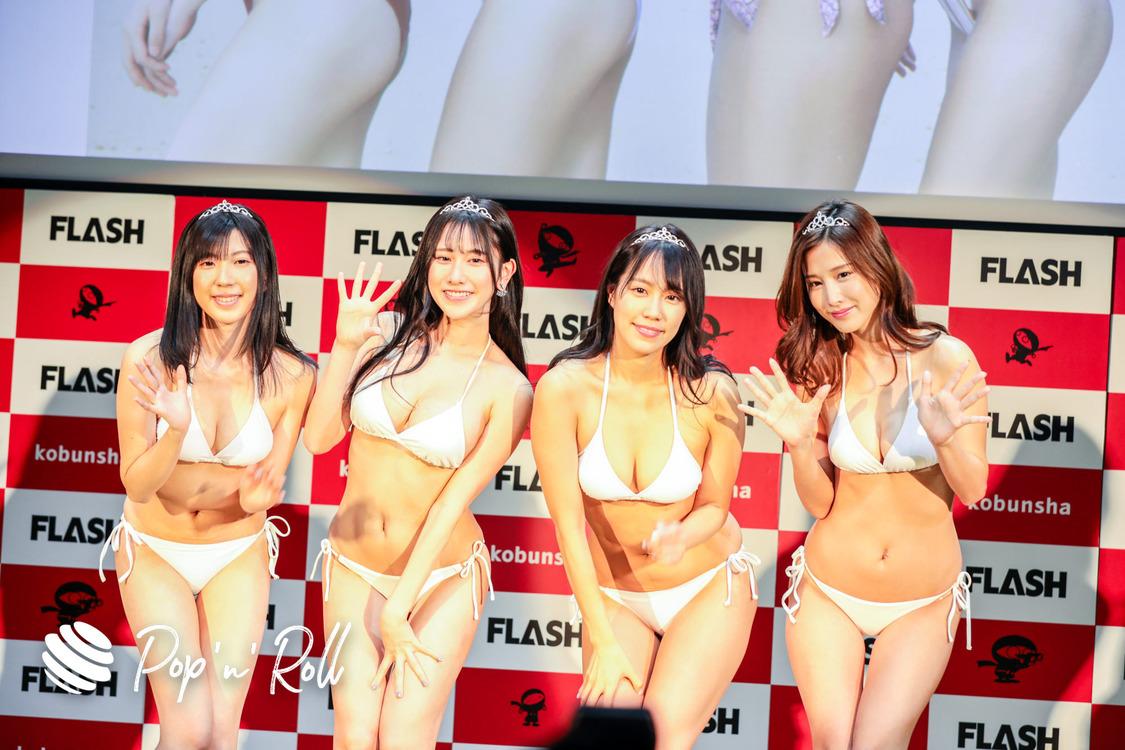 【会見レポート】<ミスFLASH2021>に益田アンナ、霧島聖子、名取くるみ、高槻実穂! 純白の水着姿で喜びと決意を表明