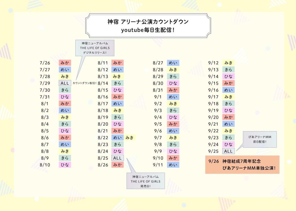 神宿、メンバーが毎日日替わりで登場! ぴあアリーナ公演へのカウントダウン生配信スタート