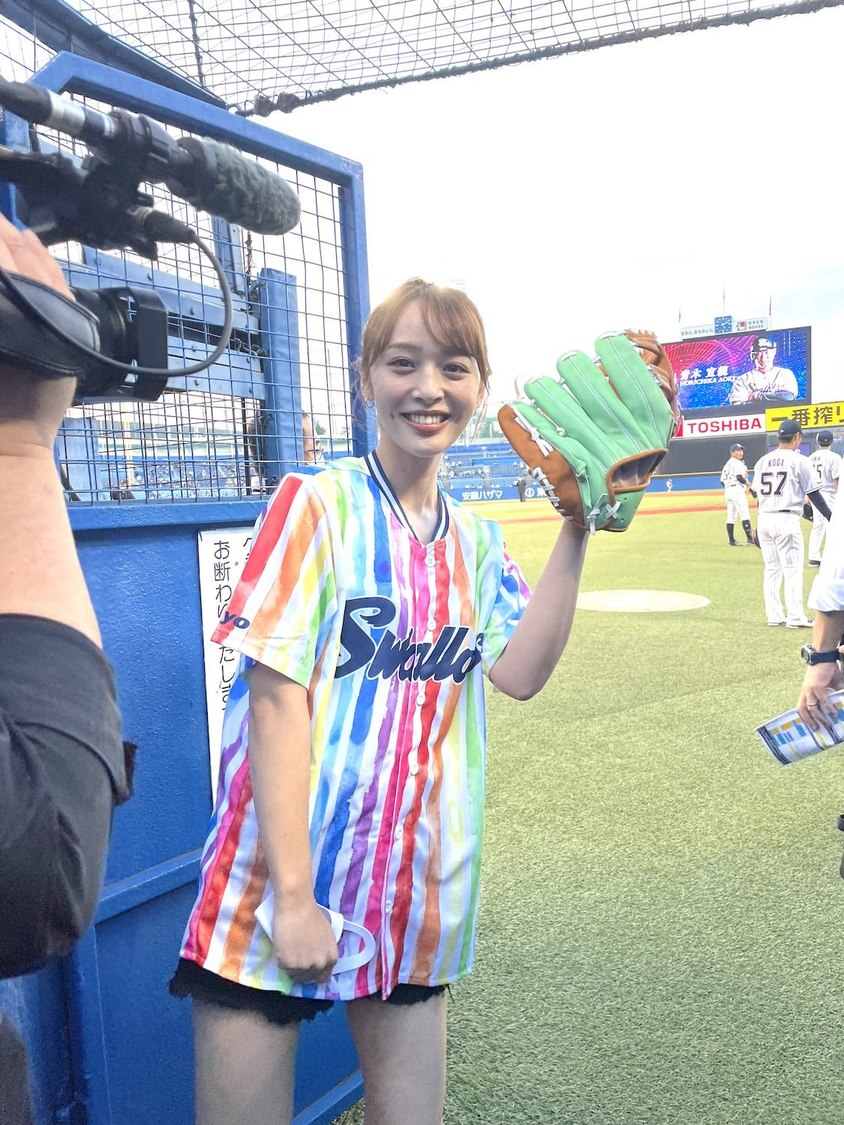 神部美咲、ヤクルトvs中日戦で人生初の始球式に挑戦「本当に気持ちよかったです!」