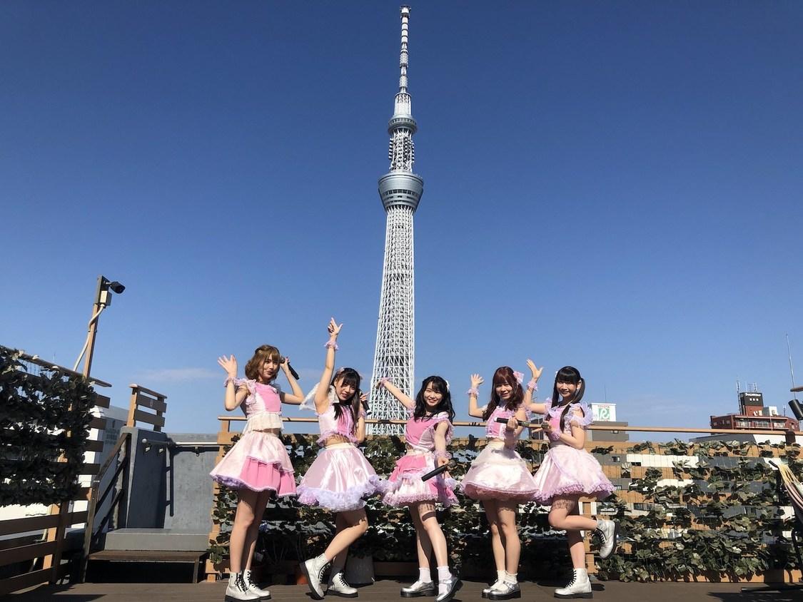 桃レボ、東京スカイツリーをバックに無観客ライブ開催「桃色革命が少しでも良いニュースのきっかけになれば」